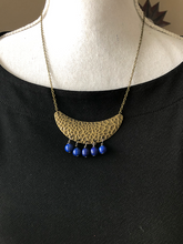 Load image into Gallery viewer, Small Hammered Bronze Bib gemstone necklace - 3 different gemstones