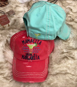 Mamacita Needs a Margarita distressed hat - 2 colors