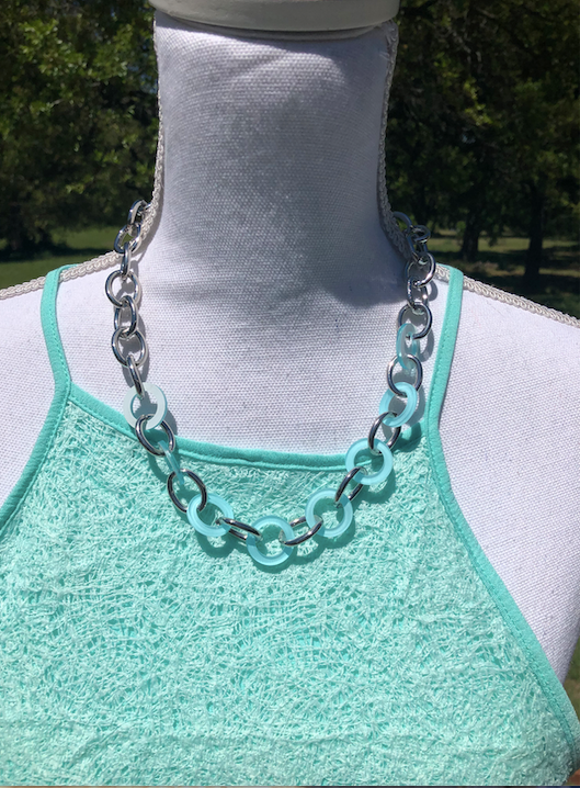 Mint & Silver lightweight circles necklace with matching earrings