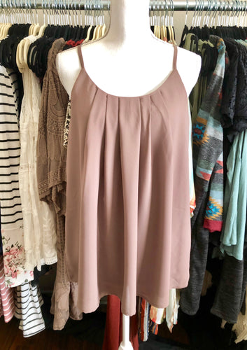 Mocha pleated and lined camisole