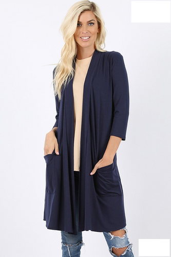 Navy 3/4 Sleeve soft Cardigan - Sm & Lg left