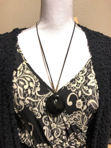 Obsidian Large Circle Pendant Necklace