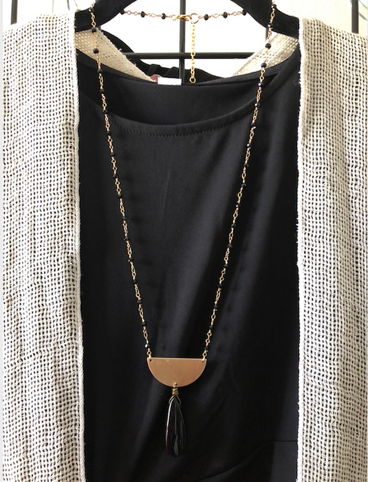 Elegant Handmade Onyx, Gold & Brass Necklace