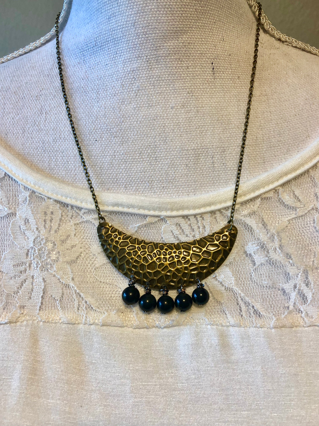 Small Hammered Bronze Bib gemstone necklace - 3 different gemstones