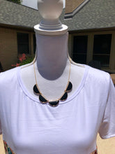 Load image into Gallery viewer, 5 Onyx Faceted Half Moon necklace