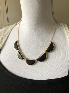 5 Onyx Faceted Half Moon necklace