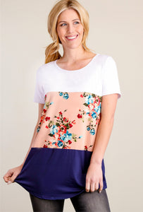 3 Layers Soft Short Sleeve Shirt - Peach Floral