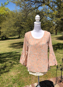 Peach Floral Lace Bell Sleeve Top