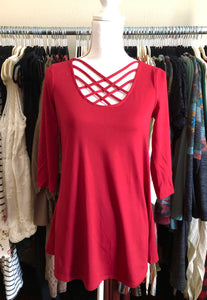 Red Criss Cross 3/4 inch sleeve top