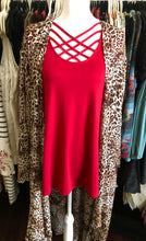 Load image into Gallery viewer, Red Criss Cross 3/4 inch sleeve top