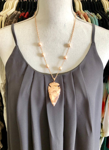 Rose Gold Arrowhead Necklace