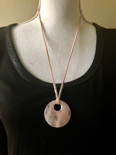 Rose Quartz Large Circle Pendant Necklace