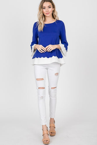 Royal Scalloped Trim 3/4 inch Sleeve Top