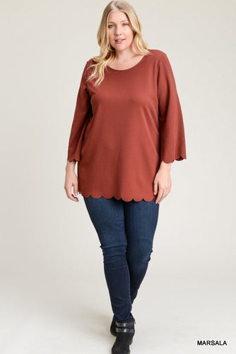Plus - Rust Scalloped Trim 3/4 inch Sleeve Top