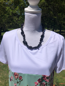 Small Chunky Beaded Necklaces with matching earrings - 2 color choices
