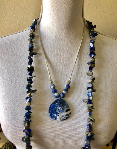 Sodalite Tear Drop Pendant necklace