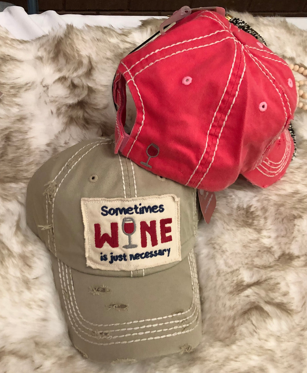 Sometimes Wine is Just Necessary distressed hat - 2 colors