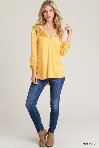 Spring in Bloom Long Sleeve V Neck - Mustard