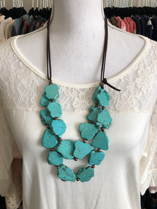 Chunky Beads Double Layer Necklace - 5 colors