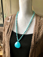 Load image into Gallery viewer, Turquoise beads and Turquoise Teardrop Pendant necklace