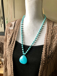 Turquoise beads and Turquoise Teardrop Pendant necklace