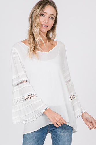 White Boho Top with Bell Sleeves and Crochet Detail - Sm & Md only