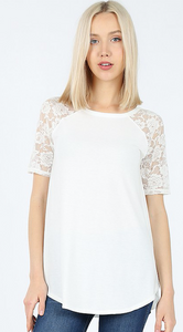 White Short Sleeve Lace Shirt - Sm - Lg