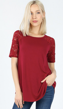 Load image into Gallery viewer, Wine Short Sleeve Lace Shirt - Sm - XL