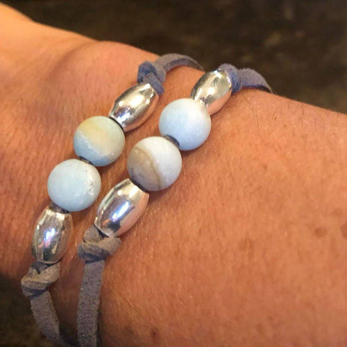 Amazonite & Sterling Silver beaded bracelet