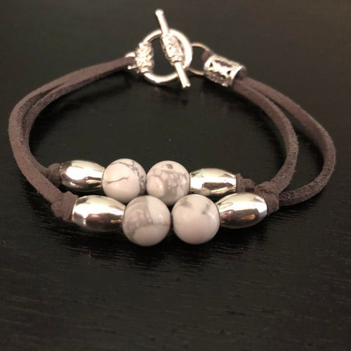 Black Stripe Howlite & Sterling Silver beads bracelet