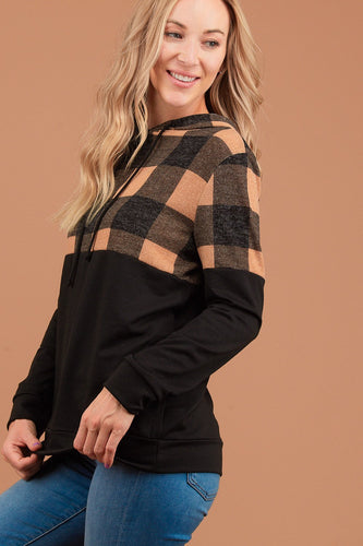 *Restock* Black & Tan Plaid Sweater Hoodie - sizes Small - 3XL