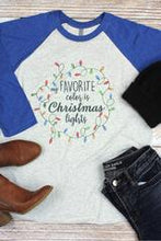 Load image into Gallery viewer, My Favorite Color is Christmas Lights raglan shirt - Next Level - Sizes Small - 2XL