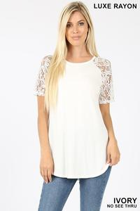 White Short Sleeve Lace Shirt - Sm - XL