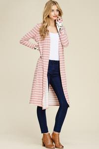 Mauve Striped Soft Cardigan with Flower Sleeve Detail - Lg - 3XL
