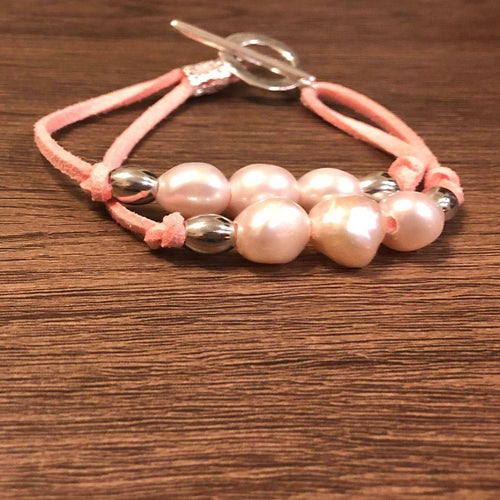 Pink fresh water pearls & silver beads bracelet
