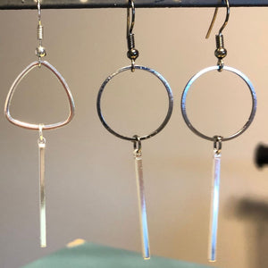 Gunmetal circle & silver drop earrings