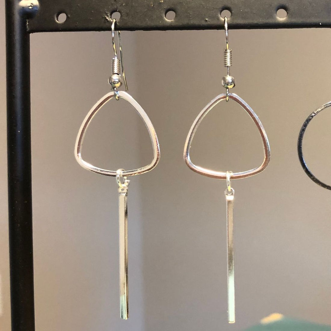 Silver triangle drop earrings