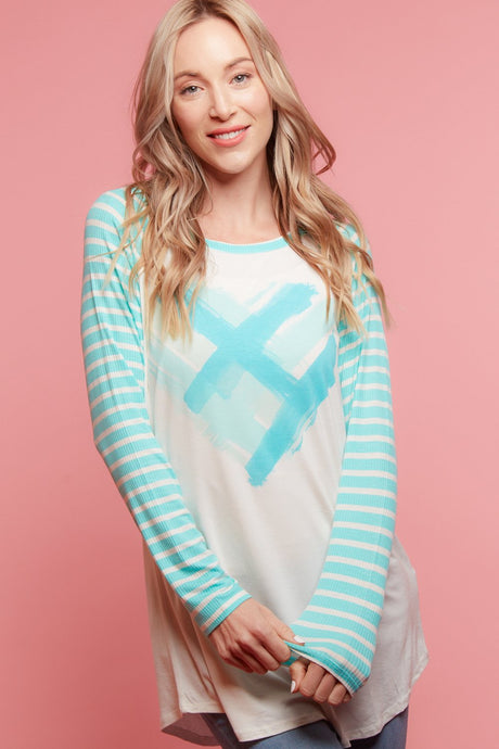 Blue Turquoise Heart and Striped Sleeve T-Shirt