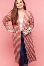 Load image into Gallery viewer, Mauve Striped Soft Cardigan with Flower Sleeve Detail - XL, 2XL & 3XL only