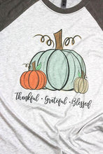 Load image into Gallery viewer, Thankful Grateful Blessed Raglan 3/4 Sleeve Shirt