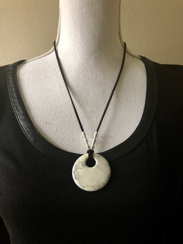 White Howlite Large Circle Pendant Necklace