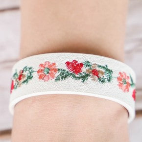 small Embroidered flowers on faux leather