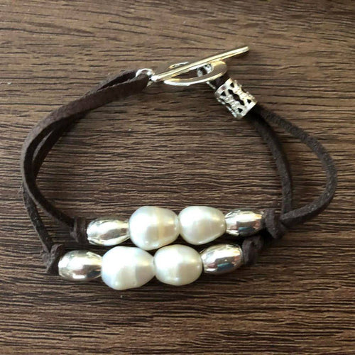White fresh water pearls & Sterling Silver beads bracelet