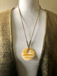 Yellow Jade Large Circle Pendant necklace