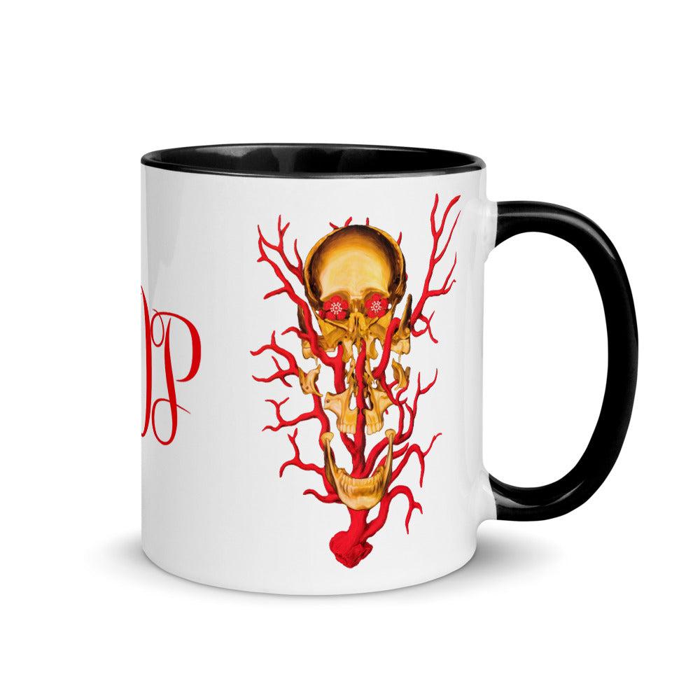 ADP Mug Exploded Skull Gold and Red with Color Inside