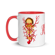 Load image into Gallery viewer, ADP Mug Exploded Skull Gold and Red with Color Inside