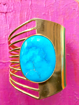 MOD MIMI CUFF WITH LARGE TURQUOISE STONE