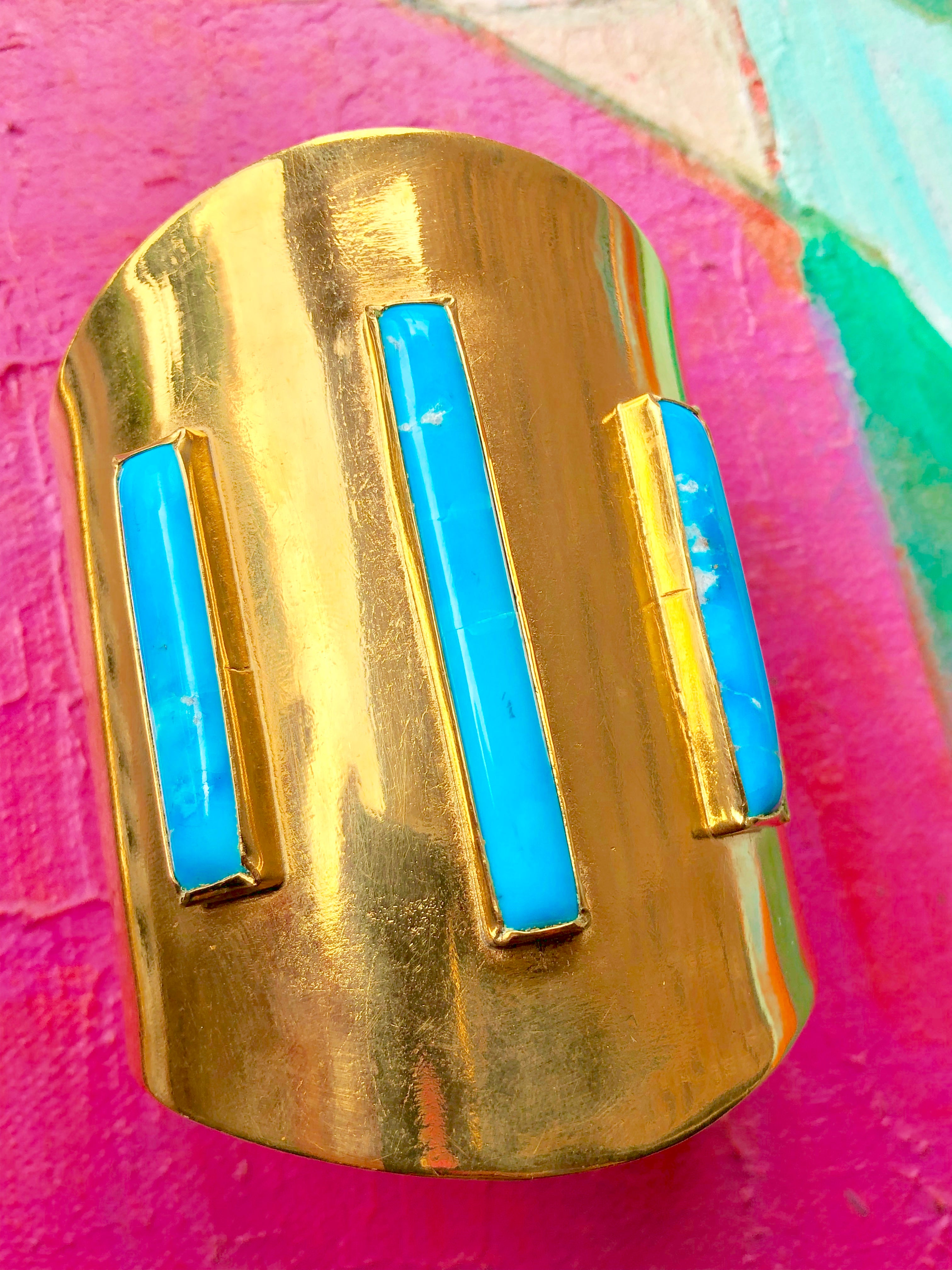 MOD CUFF WITH THREE TURQUOISE RECTANGLES