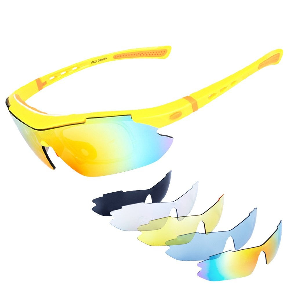 be8104c07fb ... UV400 Protection Sports Sunglasses with 5 Interchangeable Lenses for  Men and Women in Cycling Fishing Running Climbing Baseball Driving Surfing  Golfing ...