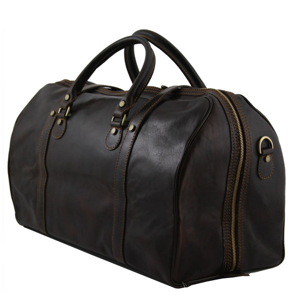 Berlin - Travel Leather Duffel Bag With Front Straps - Large Size